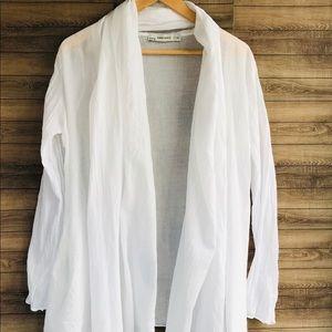 Zara Basic | White Linen Open Front Top